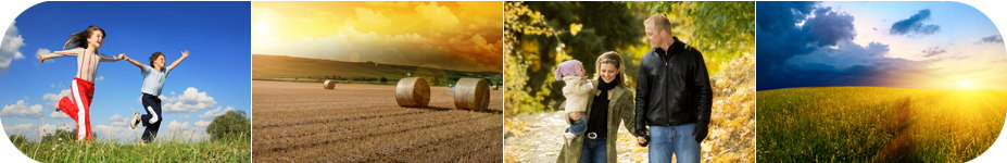 Photo montage: children holding hands and running through a field, bales of hay on farmland, a young couple with a baby in the park, the sun shining on a field of wheat